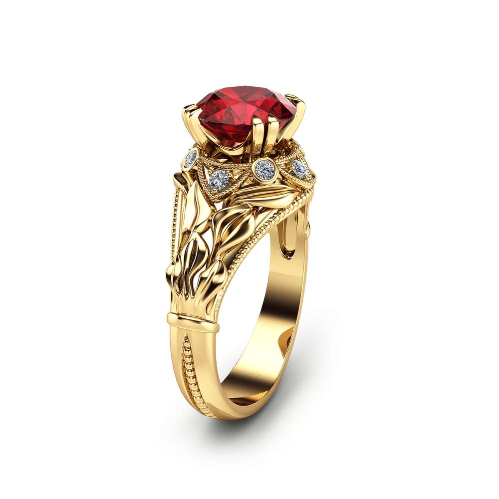 Natural Ruby Leaf Engagement Ring 14K Yellow Gold Ruby Ring Custom Engagement Ring
