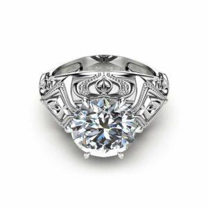 14K White Gold Moissanite Engagement Ring  Custom Engagement Ring 2 Carat Moissanite Ring Unique Solitaire Ring