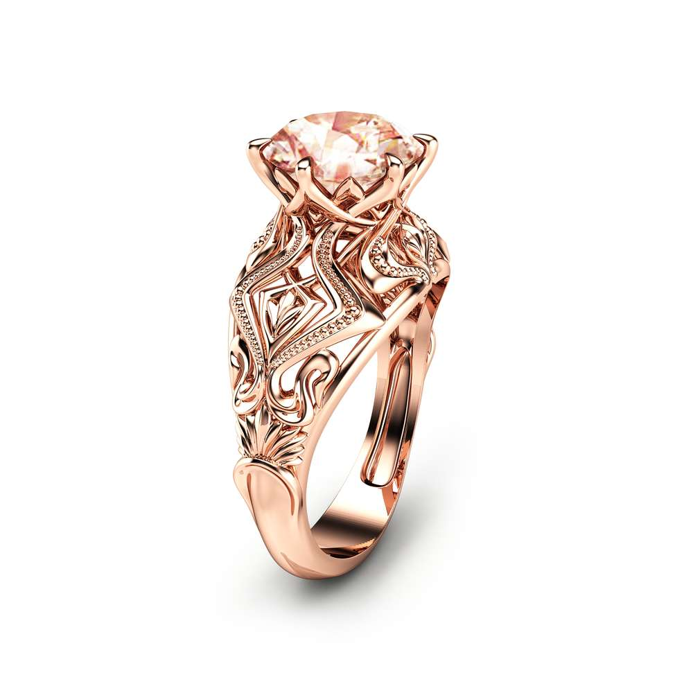 Peach Pink Morganite Engagement Ring in 14K Rose Gold Custom Engagement Ring 2 Carat Morganite Ring Unique Solitaire Ring
