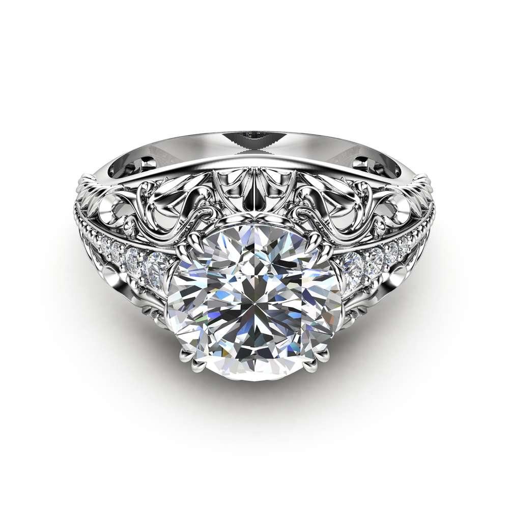 2 Carat Moissanite Engagement Ring in 14K White Gold Filigree Design Alternative Ring Art Deco Engagement Ring