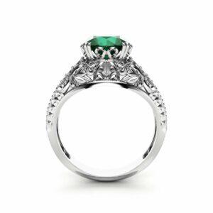 2 Carat Emerald Engagement Ring in 14K White Gold Filigree Design Alternative Ring Unique Custom Engagement Ring with Emerald