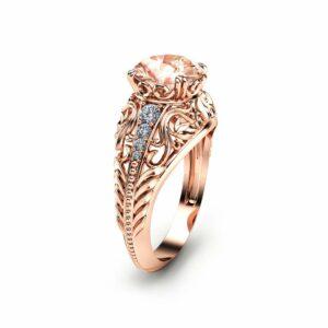 14K Rose Gold Morganite Engagement Ring Filigree Design Alternative Ring Unique Custom Engagement Ring with 2 Carat Morganite