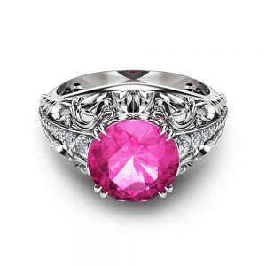 2 Carat Natural Pink Sapphire Engagement Ring in 14K White Gold  Unique Custom Engagement Ring with Pink Sapphire Art Deco Ring