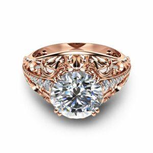 2 Carat Moissanite Engagement Ring in 14K Rose Gold Art Deco Design Alternative Ring Unique Custom Engagement Ring