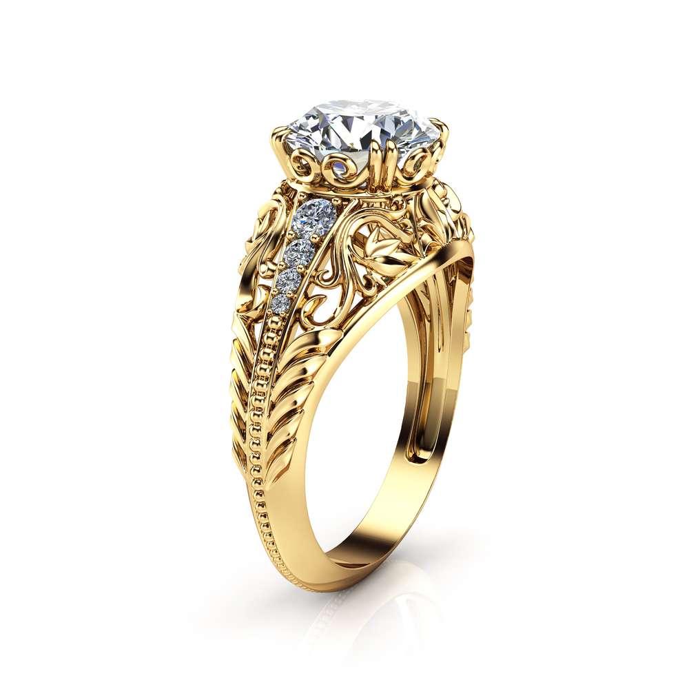 2 Carat Moissanite Engagement Ring 14K Yellow Gold Filigree Design Alternative Ring Art Deco Engagement Ring