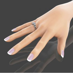 Five Stone Moissanite Engagement Ring  Unique Engagement Ring in 14K White Gold Forever Brilliant  Moissanite Ring