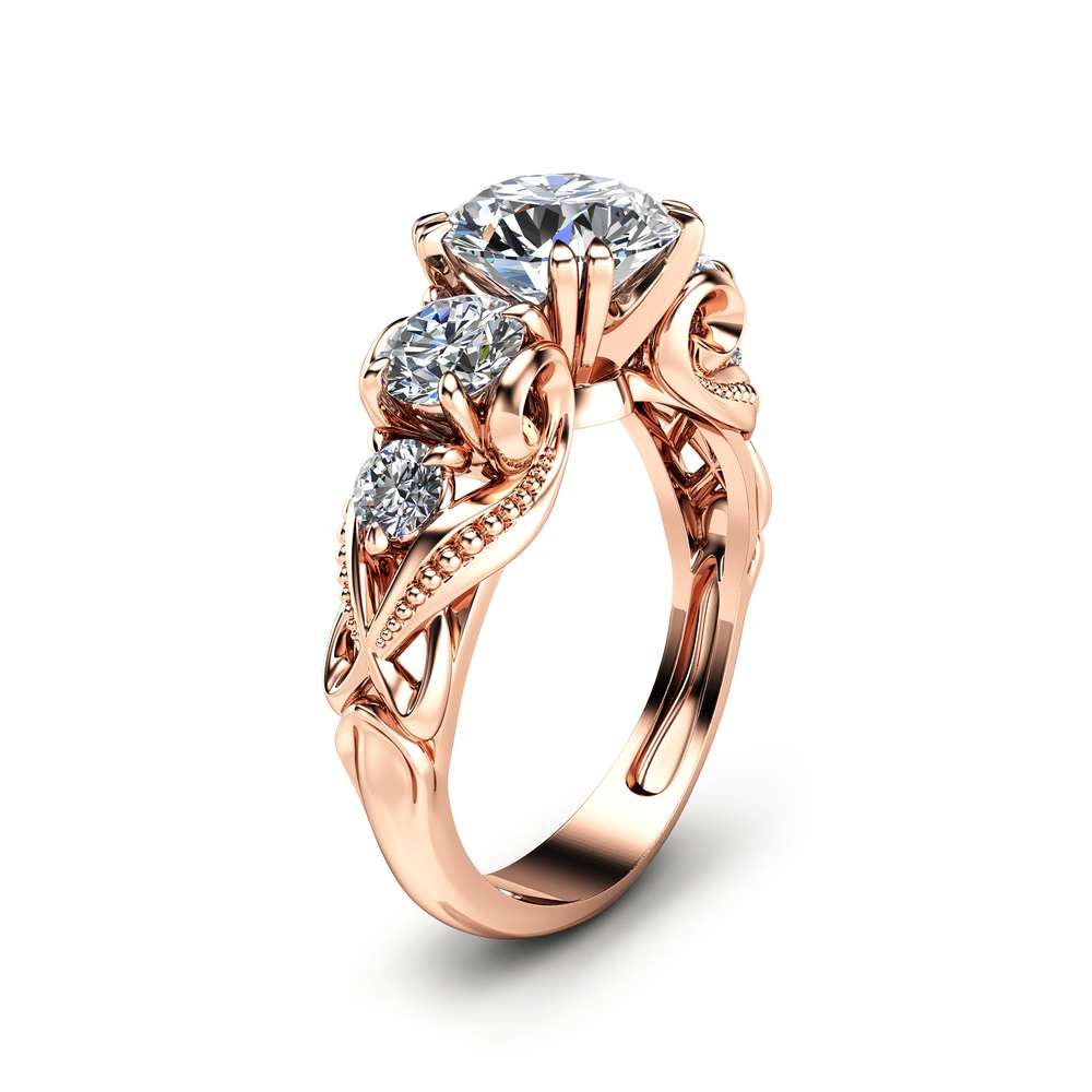 14k Rose Gold Moissanite Engagement Ring Natural Diamonds Engagement Ring Unique Moissanite Ring Camellia Jewelry