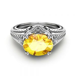 Oval Yellow Sapphire Engagement Ring in 14K White Gold Natural Sapphire Ring  Unique Engagement Ring Oval Cut Ring Art Deco Styled Ring