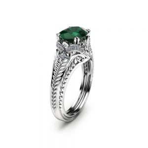 Oval Emerald Engagement Ring in 14K White Gold 2 Carat Emerald Ring Unique Engagement Ring Oval Cut Ring Art Deco Styled Ring