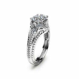 Oval Moissanite Engagement Ring in 14K White Gold Moissanite Ring Unique Engagement Ring Oval Cut Ring Art Deco Styled Ring