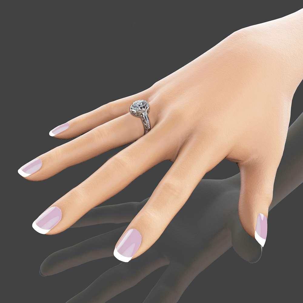 Oval Moissanite Engagement Ring in 14K White Gold Moissanite Halo Ring Unique Engagement Ring Oval Cut Ring Art Deco Styled Ring