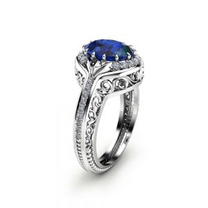 Oval Blue Sapphire  Ring in 14K White Gold Unique  Halo Ring  Oval Cut Sapphire Ring Art Deco Styled Ring Cocktail Ring