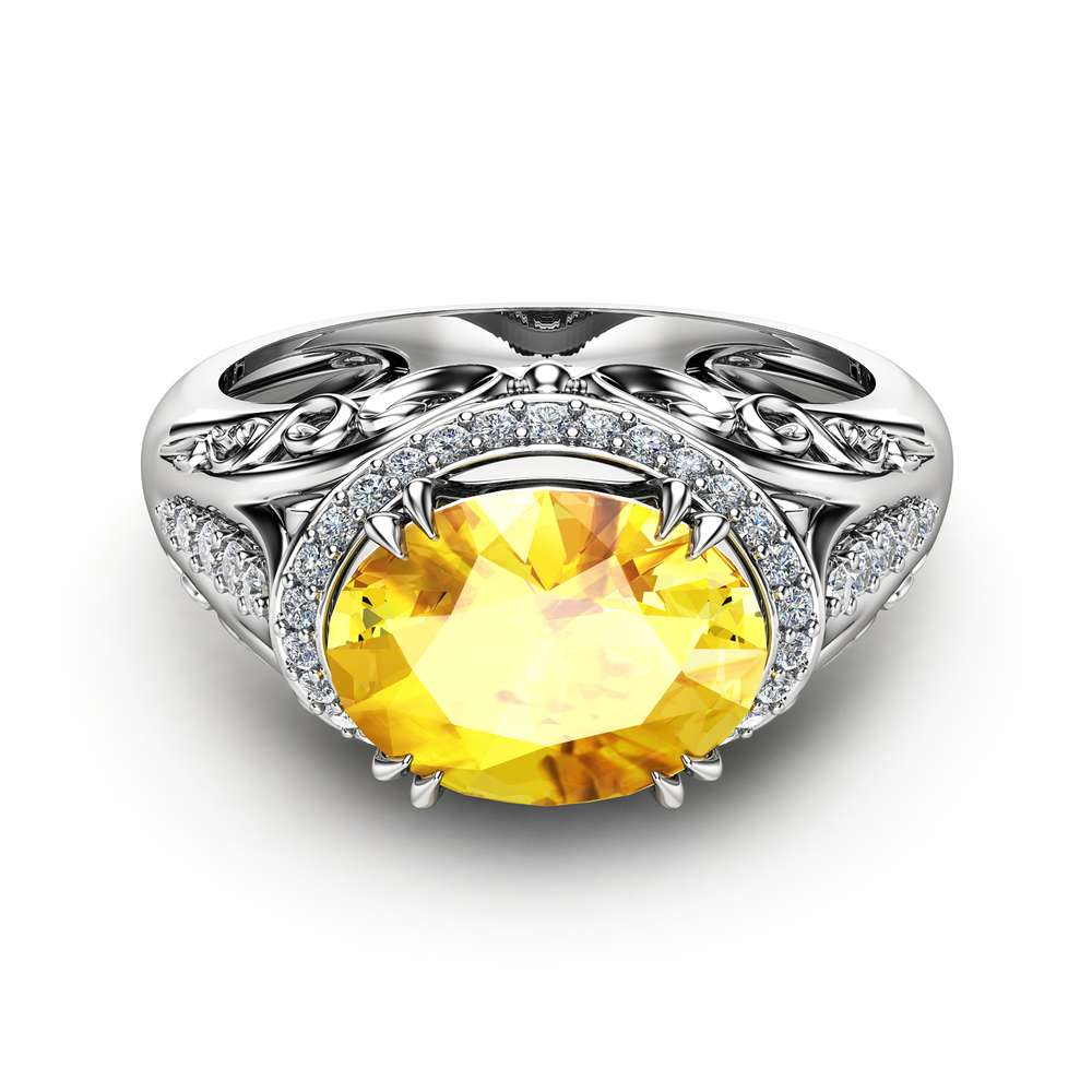 Oval Yellow Sapphire  Ring in 14K White Gold Unique Right Hand Ring Oval Cut Natural Sapphire Ring Art Deco Styled Halo Ring