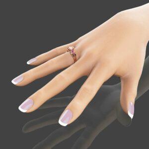 14K Rose Gold Morganite Engagement Ring Heart Shaped Ring Peach Pink Morganite Engagement Ring with Pink Sapphires