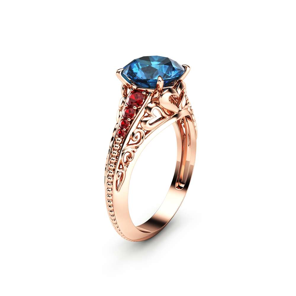 2 Carat London Blue Topaz Custom Ring in 14K Rose Gold Unique Topaz Ring  Art Deco Styled Ring with Natural Rubies