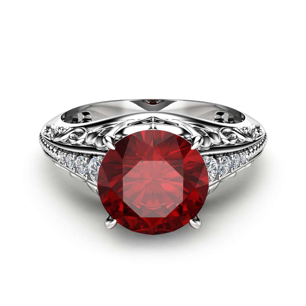 2 Carat Natural Ruby Engagement Ring in 14K White Gold Unique Ruby Engagement Ring Art Deco Styled Ring