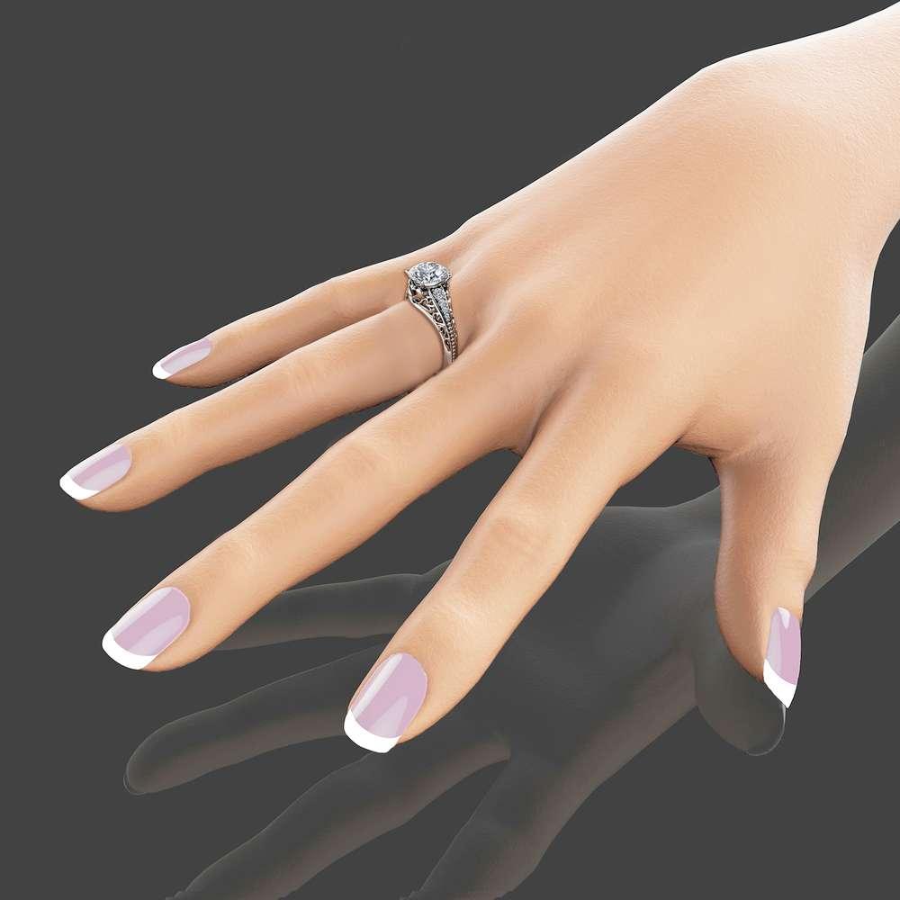 2 Carat Moissanite Engagement Ring in 14K White Gold Unique Moissanite Engagement Ring Art Deco Styled Ring