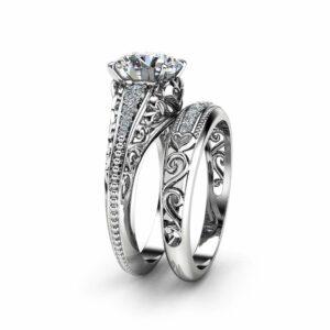 Unique 2 Carat Moissanite Ring Set 14K White Gold Engagement Rings Filigree Design Engagement Rings