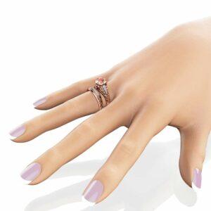 Unique Morganite Bridal Ring Set 14K Rose Gold Filigree Style Engagement Ring Diamonds Matching Band