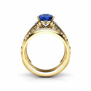 Natural Blue Sapphire Bridal Set 14K Yellow Gold Ring Unique Art Deco Sapphire Engagement Bridal Set