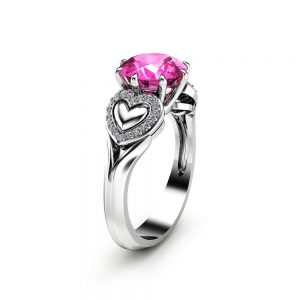 2 Carat Pink Sapphire Engagement Ring in 14K White Gold Heart Design Custom Ring Art Deco Styled Engagement Ring