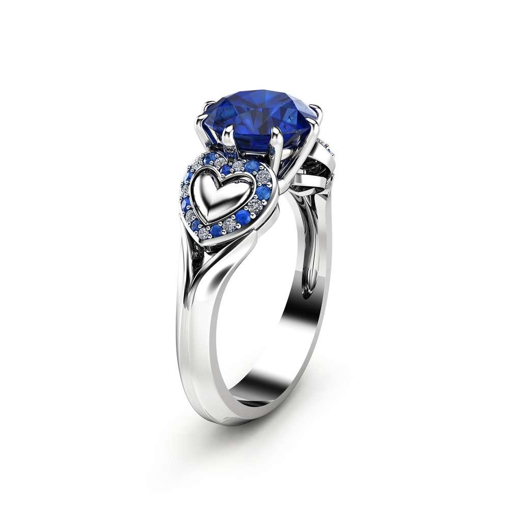 2 Carat Blue Sapphire Engagement Ring in 14K White Gold Heart Design Custom Ring Art Deco Styled Engagement Ring