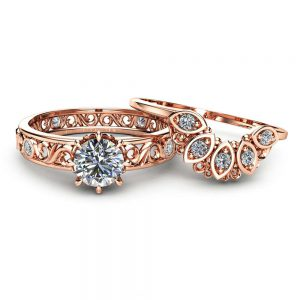 Natural Diamond Wedding Ring Set in 14K Rose Gold Unique Diamond Engagement Rings Rose Gold Wedding Rings