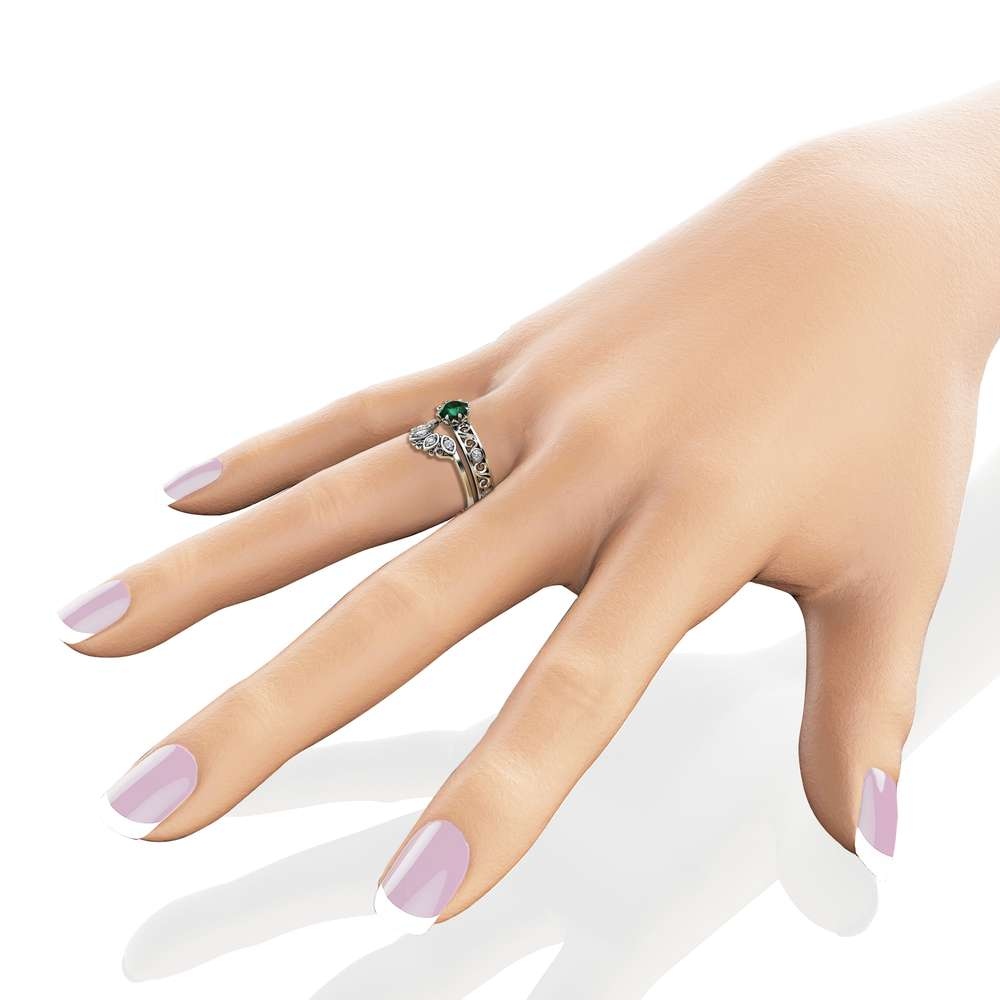 Emerald Engagement Ring Set 14K White Gold Rings Emerald Engagement Rings