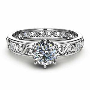 Unique Diamond Engagement Ring 14K White Gold Filigree Ring Diamond Art Deco Ring