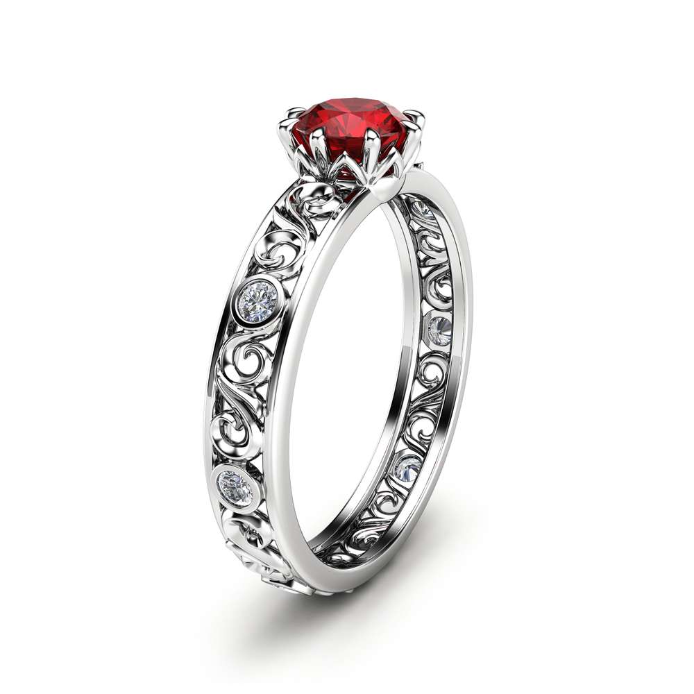 Ruby Engagement Ring Unique 14K White Gold Ruby Ring Filigree Engagement Ring
