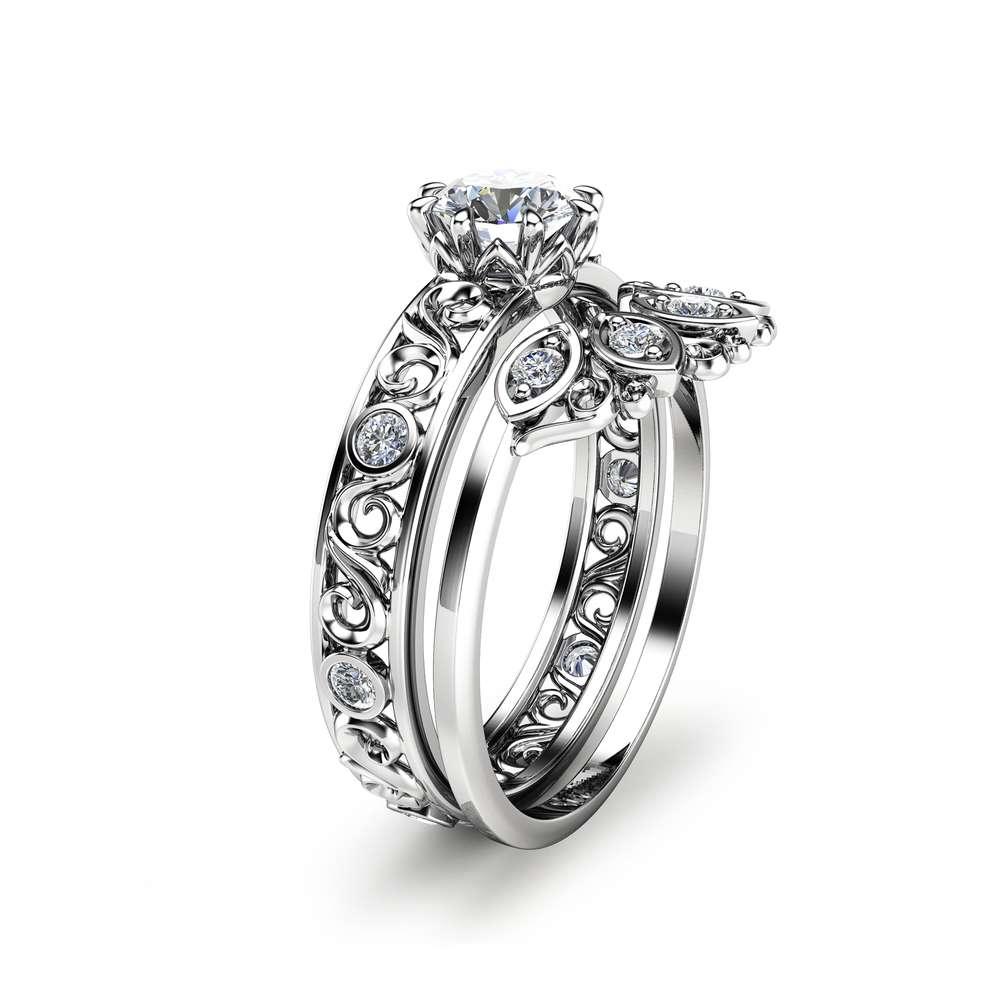 Diamond Wedding Ring Set in 14K Rose Gold Unique Diamond Engagement Set Art Deco Wedding Ring Set