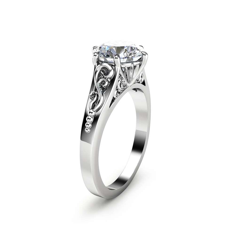 2CT Moissanite Engagement Ring 14K White Gold Moissanite Solitaire Ring Unique Alternative Engagement Ring