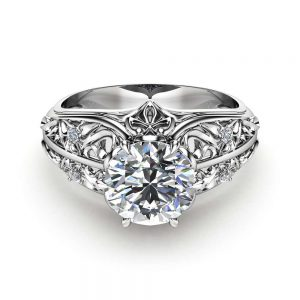 Unique Engagement Ring 14K White Gold Moissanite Ring Filigree Design Engagement Ring Unique Diamond Ring