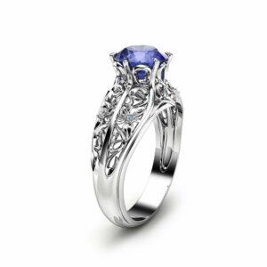 Bluish Violet Tanzanite Engagement Ring Natural Tanzanite Ring in 14K White Gold Unique Engagement Ring