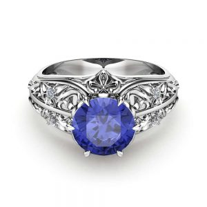 Bluish Violet Tanzanite Engagement Ring Natural Tanzanite Ring in 14K White Gold Unique Engagement Ring