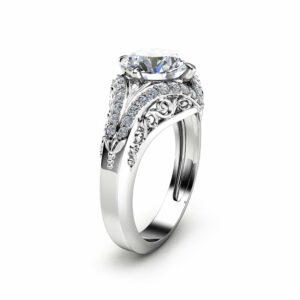 Art Deco Styled Moissanite Engagement Ring Unique 2 Carat Moissanite Ring Solid 14K White Gold Ring Filigree Design Engagement Ring