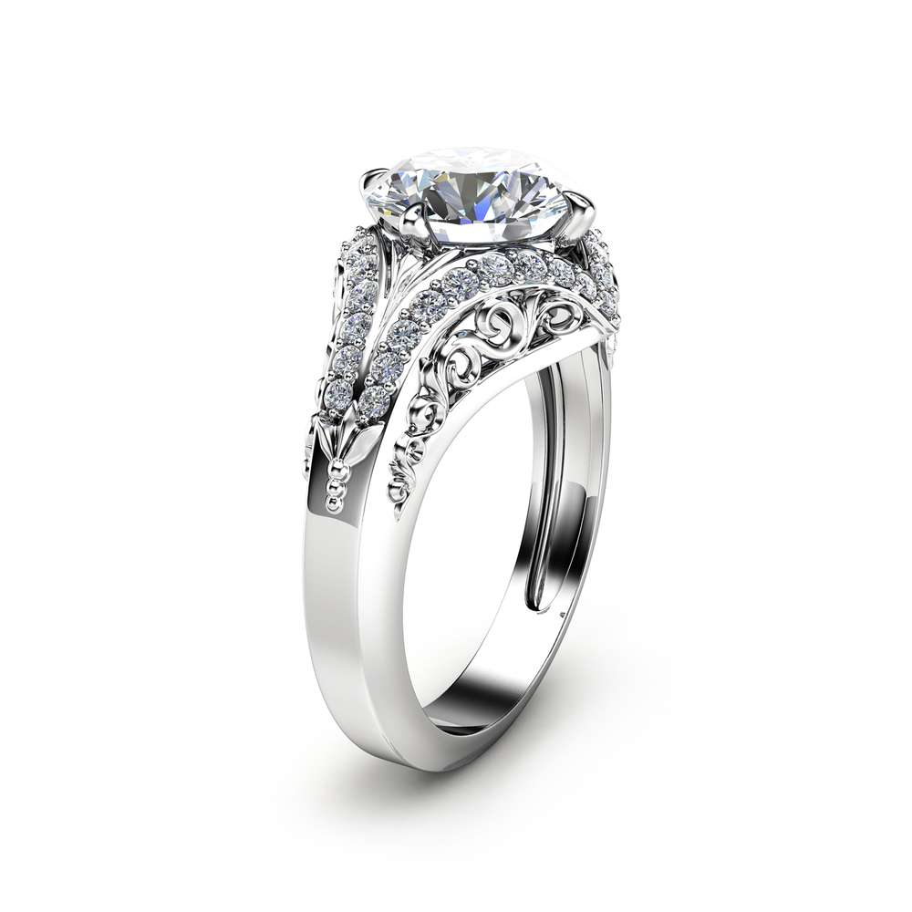 Art Deco Styled Moissanite Engagement Ring Unique 2 Carat Moissanite Ring Solid 14K White Gold Ring Filigree Design Engagement Ring