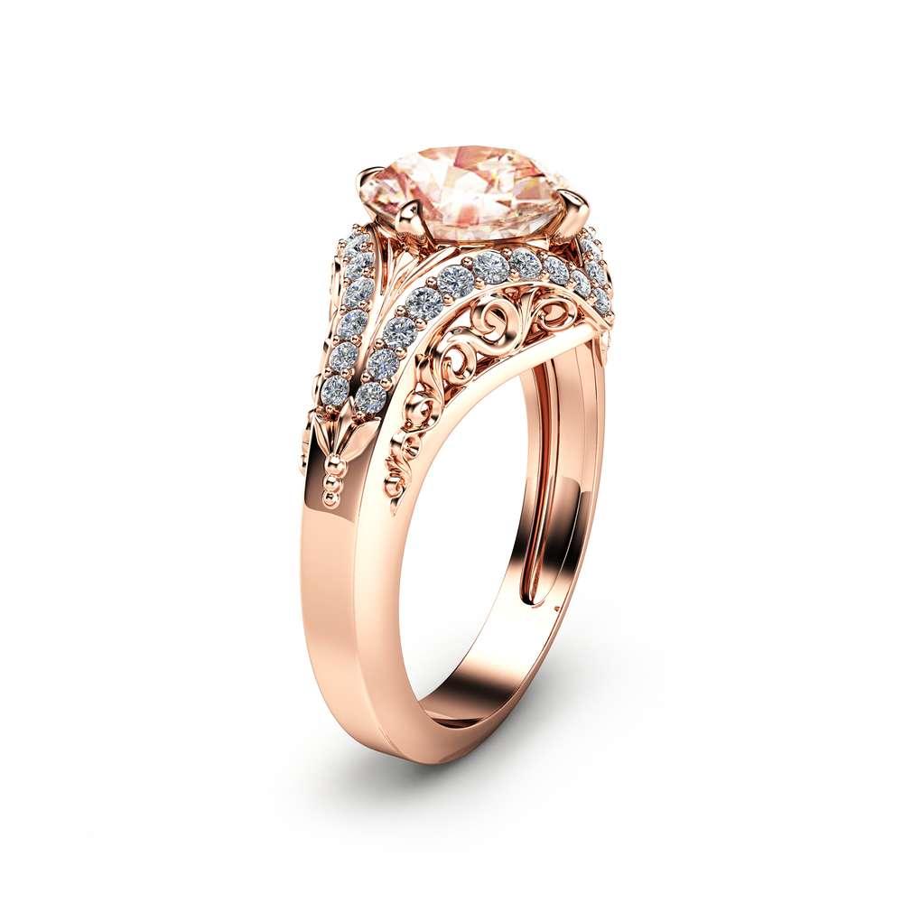 Peach Pink Morganite Engagement Ring Unique 2 Carat Morganite Ring in 14K Rose Gold Filigree Engagement Ring