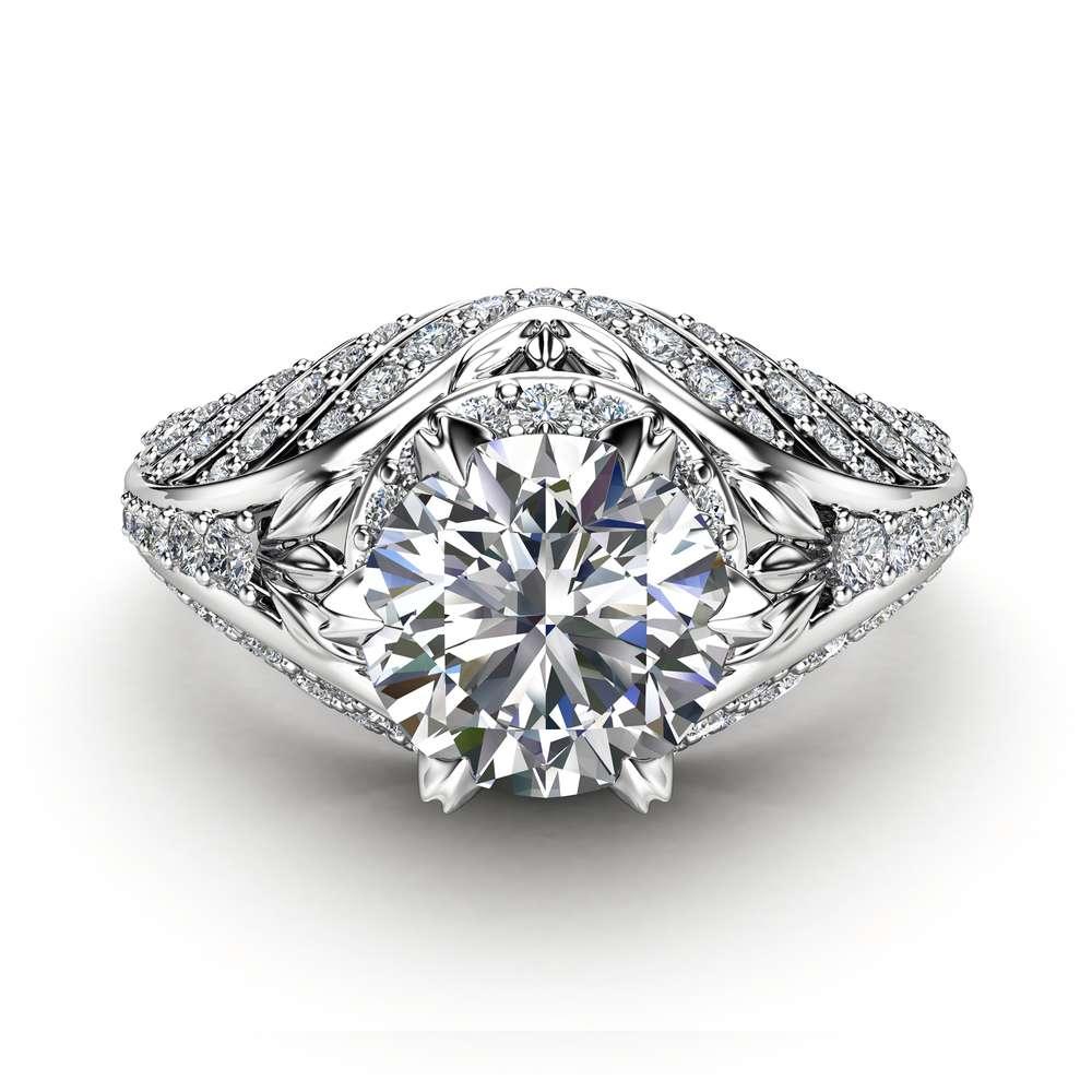 Custom Engagement Ring Unique Moissanite & Diamonds Ring 14K White Gold Engagement Ring