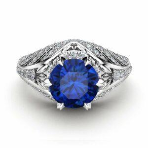 Custom Sapphire Engagement Ring Unique Sapphire & Diamonds Ring 14K White Gold Engagement Ring