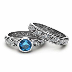 London Blue Topaz Engagement Ring Set in 14K White Gold Art Deco Styled Bezel Ring Unique Topaz Engagement Ring