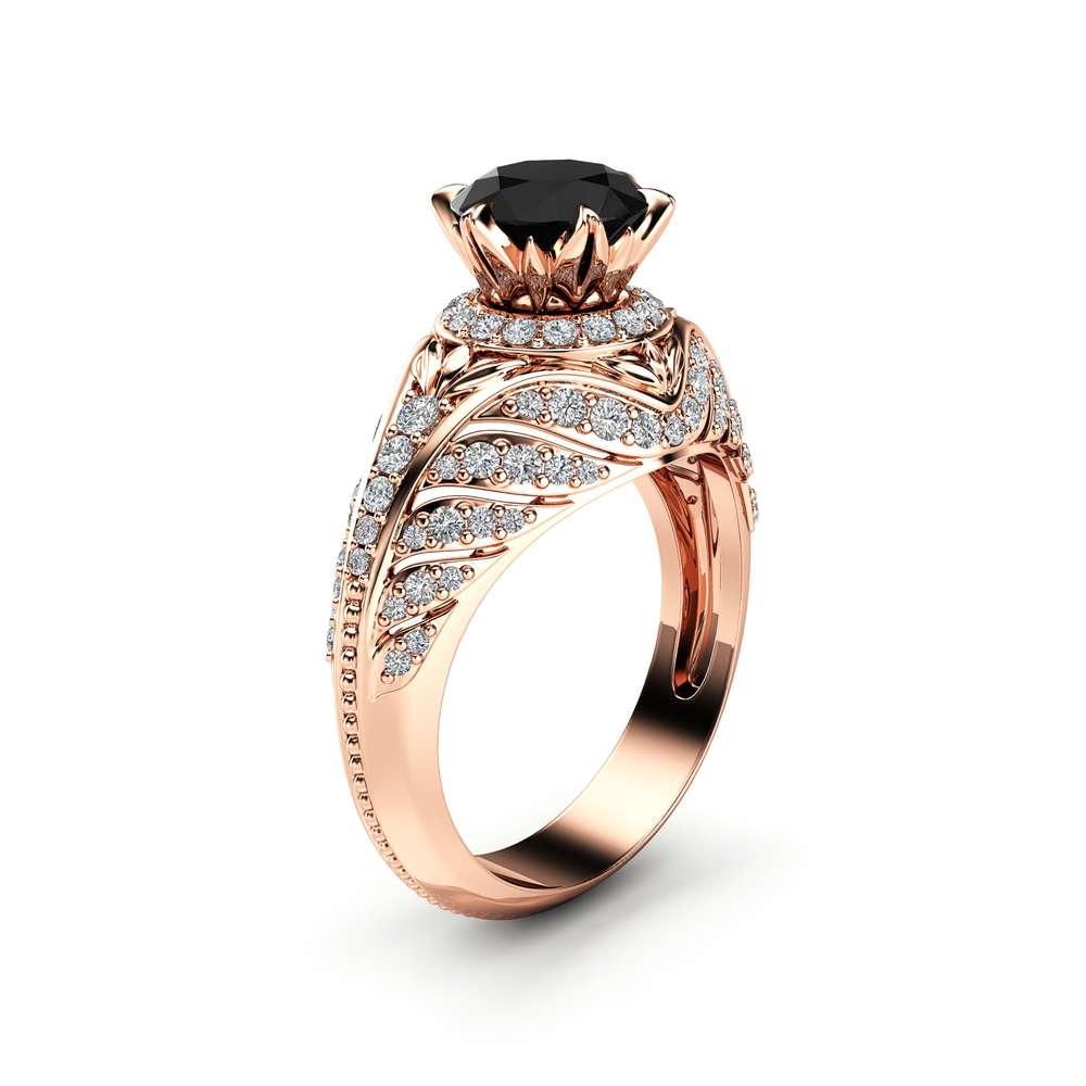 Custom Black Diamond Engagement Ring 14K Rose Gold Halo Engagement Ring Unique Black Diamond Ring