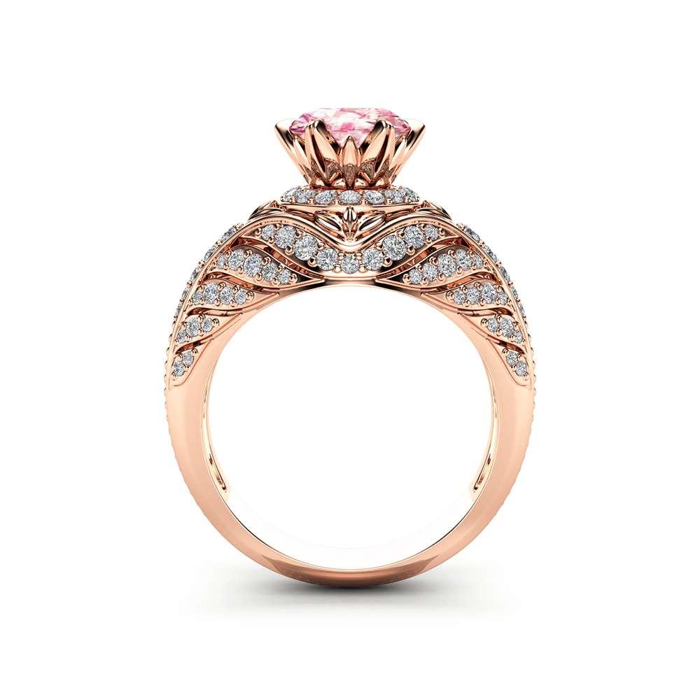 Custom Pink Sapphire Engagement Ring 14K Rose Gold Halo Engagement Ring Unique Pink Sapphire Ring