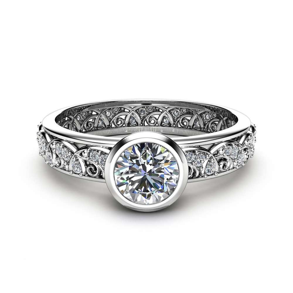 Vintage Engagement Ring 14K White Gold Ring Diamond Engagement Rings