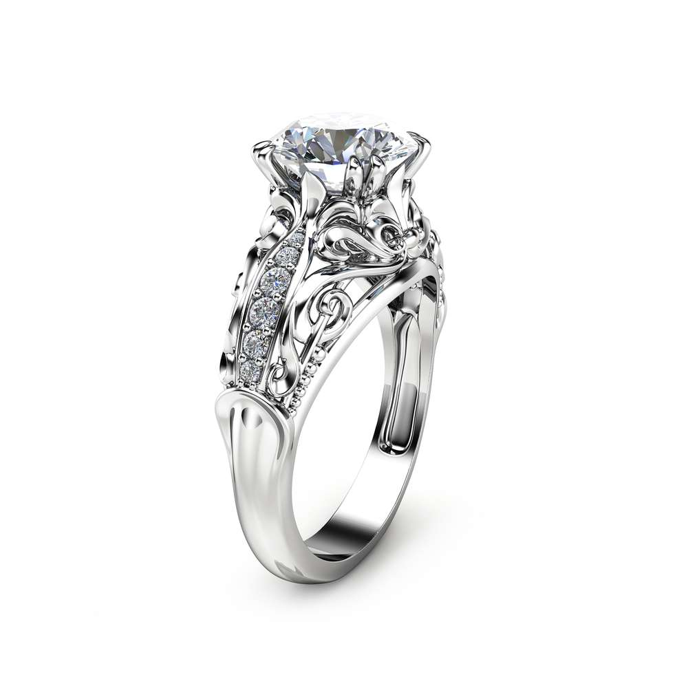 Moissanite Engagement Ring White Gold Ring Vintage Engagement Ring Vintage Moissanite Ring