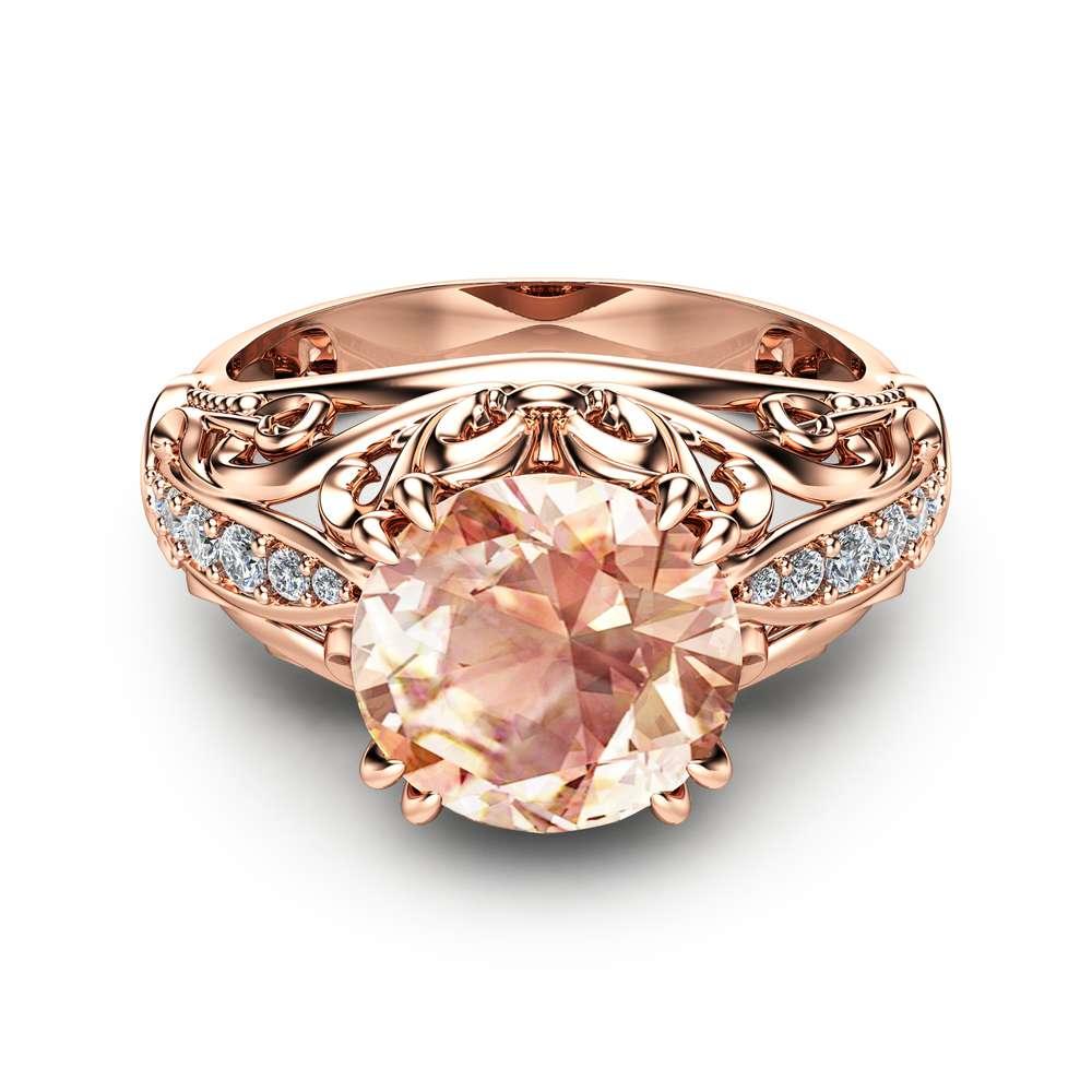 Morganite Engagement Ring Rose Gold Ring Vintage Engagement Ring Morganite Gold Ring