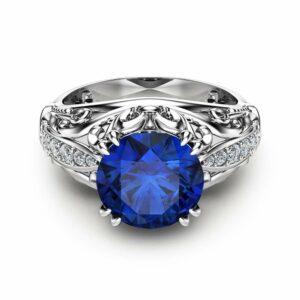 Sapphire Engagement Ring White Gold Ring Vintage Engagement Ring September Birthstone Ring