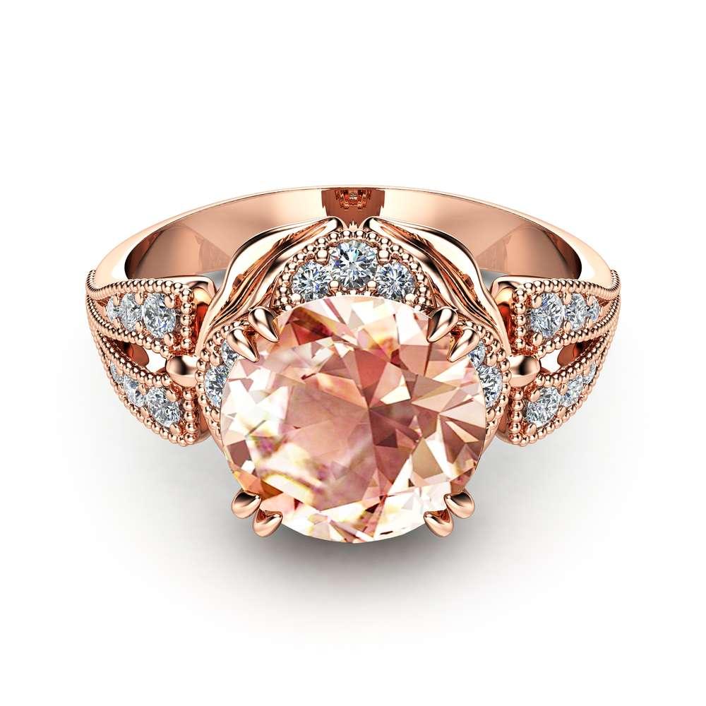 Morganite Engagement Ring Unique 14K Rose Gold Ring Art Deco Morganite Ring Rose Gold Engagement Ring