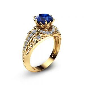 Blue Sapphire Engagement Ring 14K Yellow Gold Ring Natural Sapphire Ring Unique Gemstone Engagement Ring