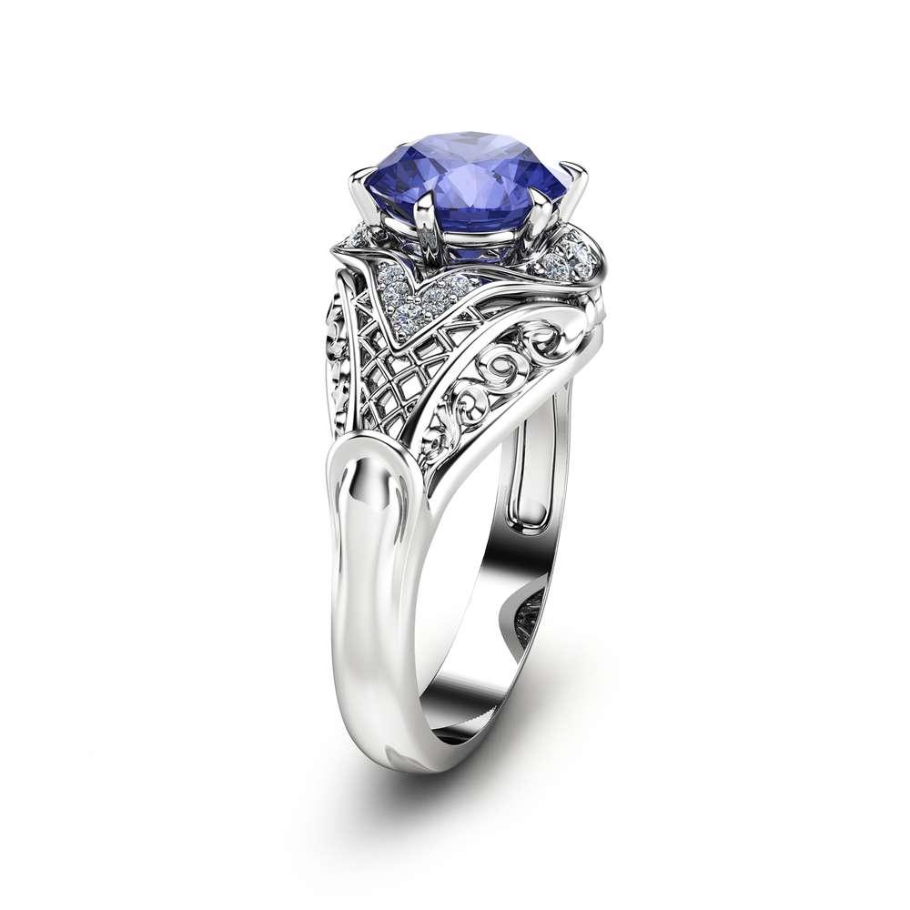 Tanzanite Engagement Ring Tanzanite Halo Ring in 14K White Gold Unique Engagement Ring Gemstone Anniversary Ring